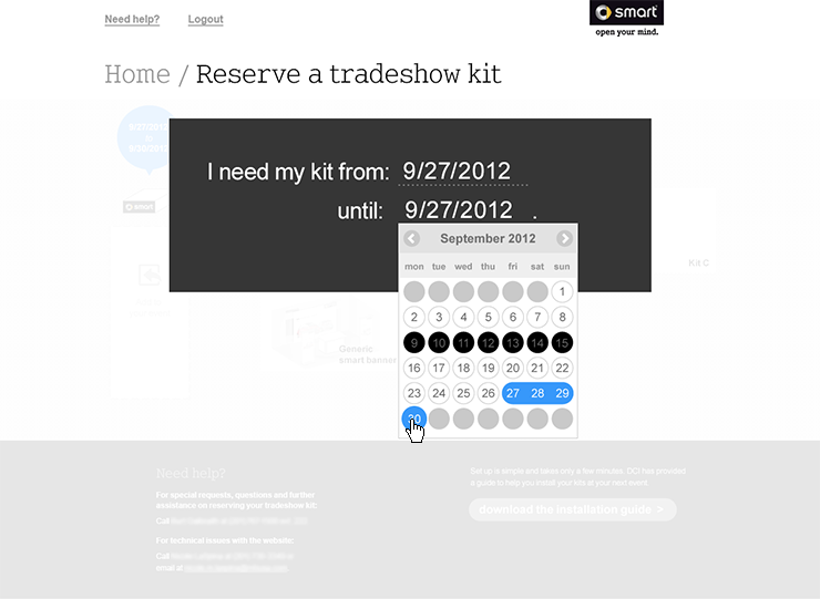 smart Tradeshow Kit Reservation Tool Screen